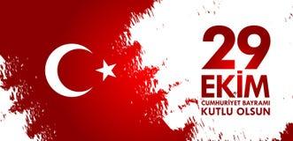 Kutluolsun för 29 Ekim Cumhuriyet Bayraminiz Översättning: 29 oktober lycklig republikdag Turkiet Arkivbild