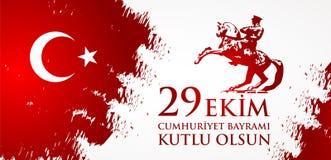 Kutluolsun för 29 Ekim Cumhuriyet Bayraminiz Översättning: 29 oktober lycklig republikdag Turkiet Royaltyfria Foton