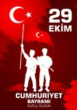 Kutluolsun för 29 Ekim Cumhuriyet Bayraminiz Översättning: 29 oktober lycklig republikdag Turkiet vektor illustrationer