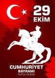 Kutluolsun för 29 Ekim Cumhuriyet Bayraminiz Översättning: 29 oktober lycklig republikdag Turkiet stock illustrationer