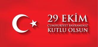 Kutluolsun för 29 Ekim Cumhuriyet Bayraminiz Översättning: 29 oktober lycklig republikdag Turkiet Arkivbilder