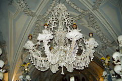 Kutna Hora Bones Chandelier, Czech Republic. A Chandelier constructed by Bones, skulls and jaws in Sedlec Ossuary monastry, Kutna Hora, Czech Republic stock photo