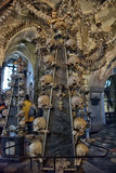 Kutna Hora Bones Chandelier, Czech Republic. A Chandelier constructed by Bones, skulls and jaws in Sedlec Ossuary monastry, Kutna Hora, Czech Republic Stock Image