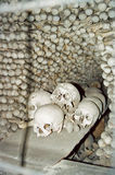 Kutna Hora Bones and skulls, Czech Republic. Bones and skulls in Sedlec Ossuary monastry, Kutna Hora, Czech Republic Royalty Free Stock Photos