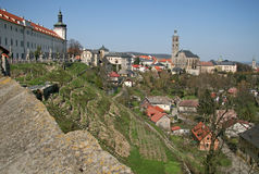 View of the Church of St. James St. Jacob Church and Jesuit College in Kutna Hora,Czech Republic Royalty Free Stock Images