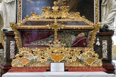 Relics of st.Vincent in kutna Hora, Czech republic. KUTNA HORA, CZECH REPUBLIC - JULY 3: Relics of st.Vincent in church of the Assumption of Our Lady and Saint Stock Image