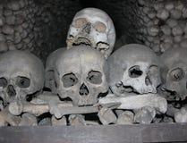 Kutna Hora Ossuary. Human skulls and bones in Ossuary in Sedlec, Kutna Hora, Czech Royalty Free Stock Images