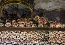 Kutna Hora, Tjeckien - mars 19, 2017: Inre av den Sedlec ossuaryen Kostnice dekorerade med skallar och ben Fotografering för Bildbyråer
