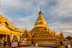 The Kutodaw Pagoda, Mandalay, Myanmar. Kuthodaw Pagoda is a Buddhist stupa, located in Mandalay, Burma, that contains the world`s largest book. It lies at the royalty free stock images
