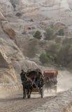 Kutschfahrt für Unterhaltung in PETRA, Jordanien Lizenzfreie Stockfotos