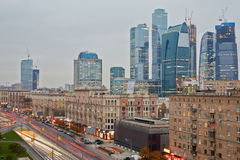Kutuzov Avenue and Moscow International Business Center Stock Photo