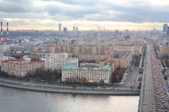 Kutuzovsky prospect, Moskva river and Novoarbatsky bridge Royalty Free Stock Image