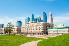 Kutuzovsky Prospekt Street during the midday with new high-rise International Financial District is visible in the distance. Moscow, Russia-May 01, 2017 royalty free stock images