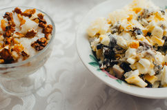 Kutya salad and rice. The salad and the kutya on the table in the Christmas night Stock Photos