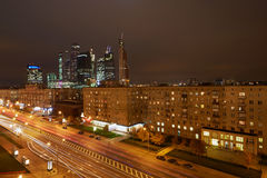 Kutzov Avenue and Moskva-city in evening Royalty Free Stock Photography