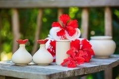 Kuuroord die met handdoeken en rode hibiscusbloemen plaatsen Stock Afbeeldingen