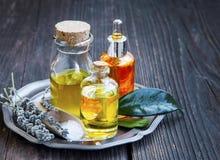 Kuuroord en aromatherapy oliën in transparante flessen met zout stock afbeelding