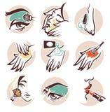 KUUROORD en schoonheidspictogrammen royalty-vrije illustratie