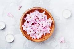 Kuuroord en wellnesssamenstelling van geparfumeerd roze bloemenwater in houten kom en kaarsen op grijze steenlijst Aromatherapy stock foto
