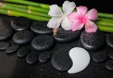 Kuuroord het plaatsen van witte, roze hibiscusbloemen, symbool Yin Yang Stock Foto
