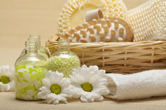 Kuuroord - massagehulpmiddelen en badzout Royalty-vrije Stock Foto