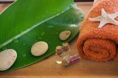Kuuroord met een oranje handdoek en een zeester op een groen blad wordt geplaatst dat Royalty-vrije Stock Foto