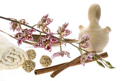 Kuuroord. natuurlijke zepen en orchidee royalty-vrije stock fotografie