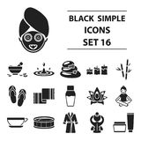 Kuuroord vastgestelde pictogrammen in zwarte stijl De grote collection spa vectorillustratie van de symboolvoorraad Stock Foto's