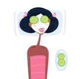 Kuuroord - vrouw met gezichtsmasker Stock Foto's