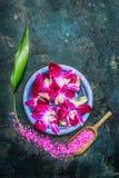 Kuuroord of wellness die met waterkom het plaatsen, roze overzees zout, orchidee bloeien Royalty-vrije Stock Afbeelding