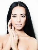 Kuuroordmeisje - donkerbruin model, gezicht Royalty-vrije Stock Fotografie