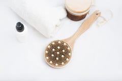 Kuuroordproducten sommige badtoebehoren Stock Afbeeldingen