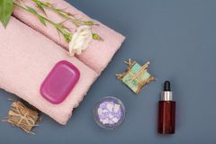 Kuuroordproducten voor gezichts en lichaamsverzorging Overzeese zoute, eigengemaakte zeep en olie royalty-vrije stock afbeelding