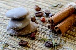 Kuuroordstilleven - masseer stenen, kaneel, koffiebonen, zout, lavendel Stock Afbeeldingen