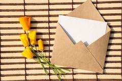Kuvert av kraft papper med ett tomt meddelande och med härligt fotografering för bildbyråer
