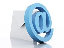kuvert 3d med mejl undertecknar på vit bakgrund Fotografering för Bildbyråer