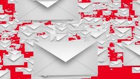 Kuvert i vit på rött stock illustrationer