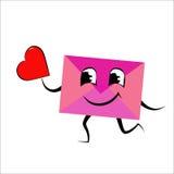 Kuvert med hjärta Arkivfoto