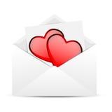 Kuvert med hjärtor till dagen av helgonet Valentin royaltyfri illustrationer