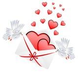 Kuvert med hjärtor till dagen av helgonet Valentin vektor illustrationer