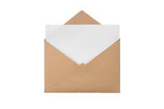 Kuvert med med ett tomt ark royaltyfria foton