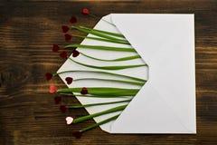 Kuvert med röd hjärta och gräs förälskelse för kuverthjärtabokstav valentin för dag s 14th Februari Fotografering för Bildbyråer