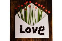 Kuvert med röd hjärta och gräs förälskelse för kuverthjärtabokstav valentin för dag s 14th Februari Arkivfoton