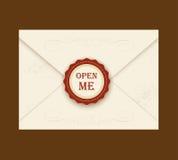 Kuvert med rosettskyddsremsan också vektor för coreldrawillustration Öppet citationstecken mig ideal för inbjudankuvert för ett b royaltyfri illustrationer