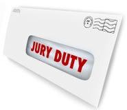 Kuvertet för juryarbetsuppgiften tillkallar syns det lagliga lagfallet för domstolen Royaltyfri Fotografi