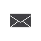 Kuvertet post, meddelandesymbolsvektor, fyllde det plana tecknet, den fasta pictogramen som isolerades på vit vektor illustrationer