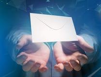 Kuvertmeddelande som visas på en futuristisk emailmanöverenhet - 3d Royaltyfri Fotografi