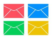 Kuvertsymbolall symbolen färgar stock illustrationer
