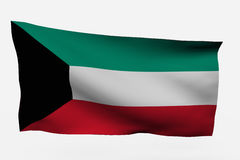 Kuwait 3d flag. Isolated on white background Royalty Free Stock Images