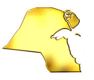 Kuwait 3d Golden Map. Isolated in white Royalty Free Stock Photo